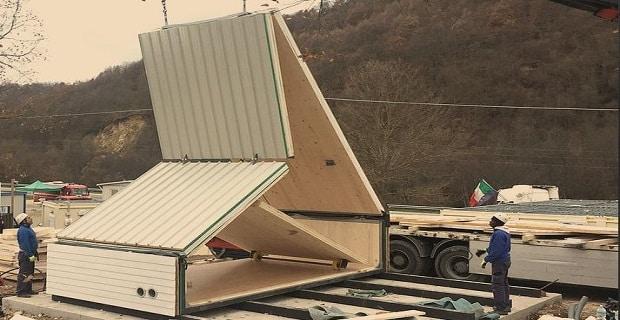 Il modulo abitativo pieghevole M.A.DI. si monta in tre giorni con due operai
